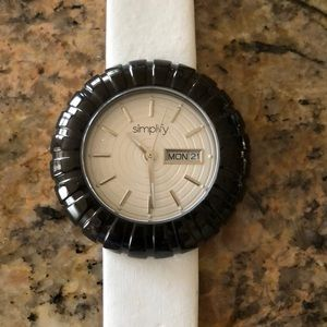 Simplify Black & White Leather Watch/New Battery